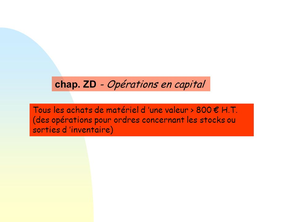 chap. ZD - Opérations en capital