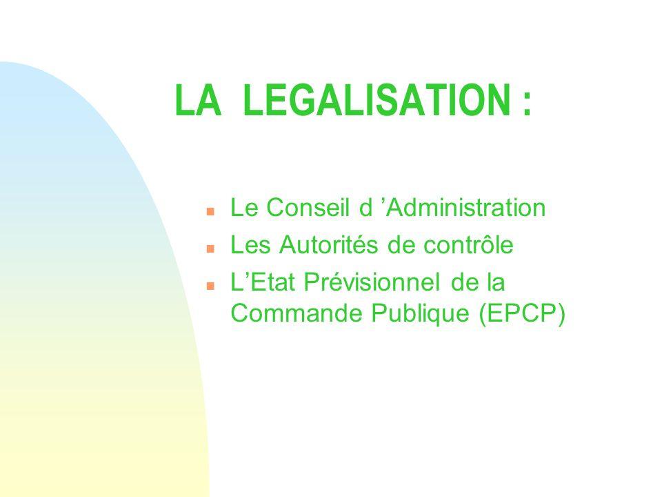 LA LEGALISATION : Le Conseil d 'Administration