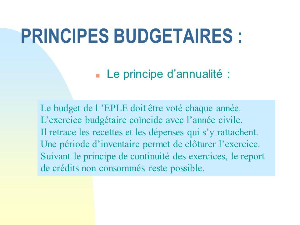 PRINCIPES BUDGETAIRES :