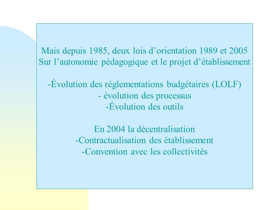 Mais depuis 1985, deux lois d'orientation 1989 et 2005