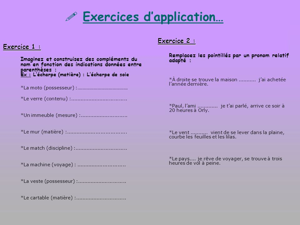 Exercices d'application…
