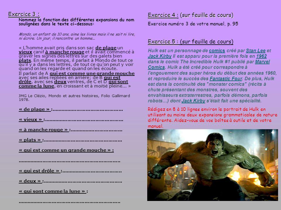 Exercice 4 : (sur feuille de cours)