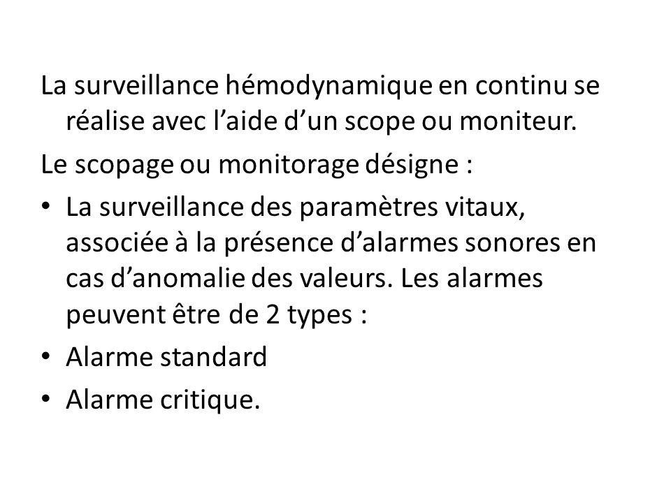 La surveillance hémodynamique en continu se réalise avec l'aide d'un scope ou moniteur.