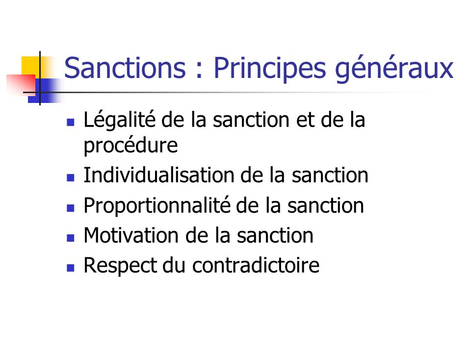 Sanctions : Principes généraux
