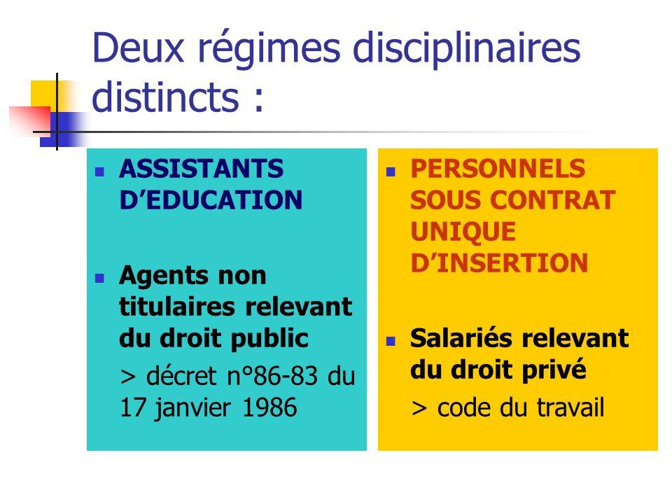 Deux régimes disciplinaires distincts :