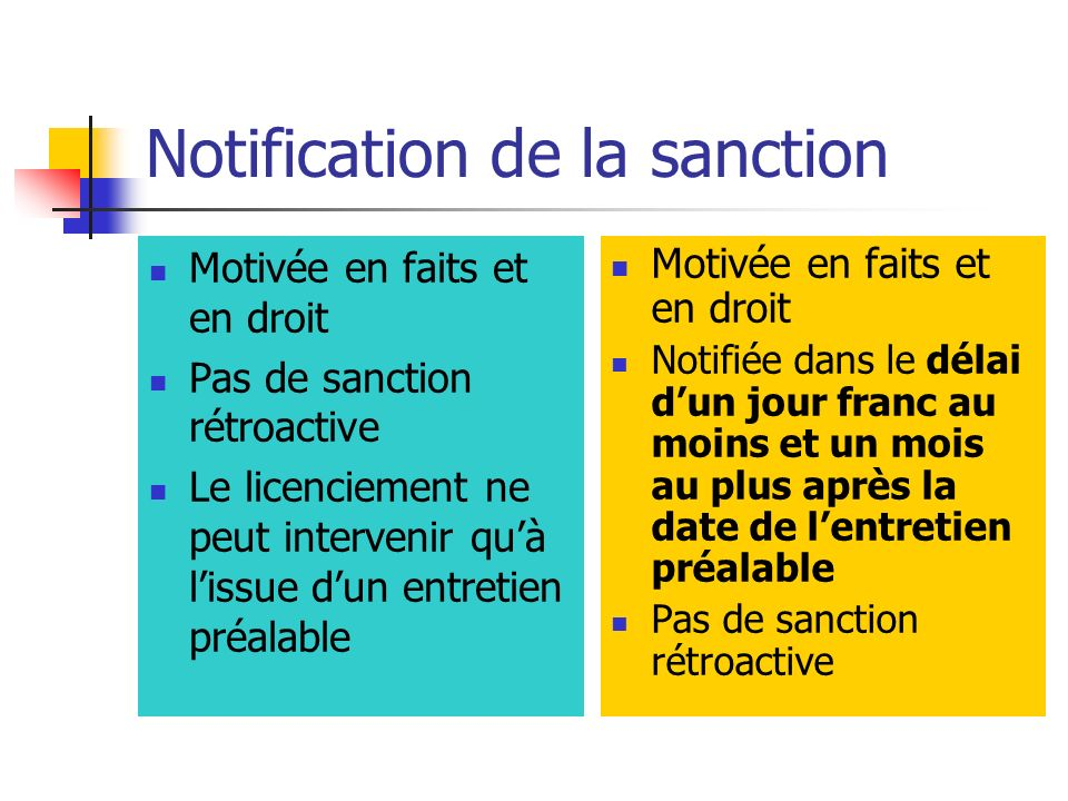 Notification de la sanction