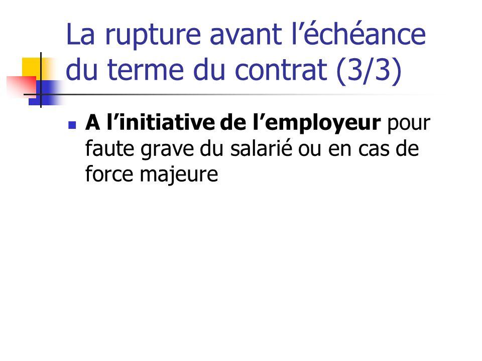 La rupture avant l'échéance du terme du contrat (3/3)