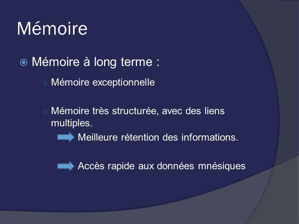 Mémoire Mémoire à long terme : Mémoire exceptionnelle