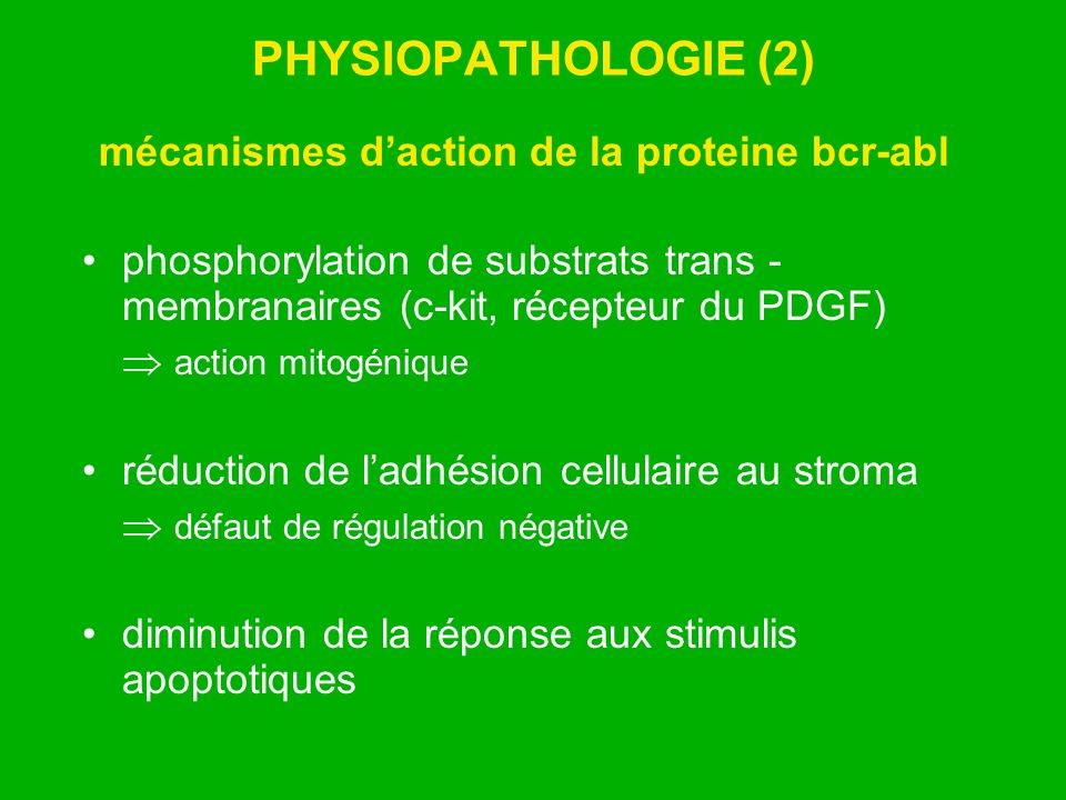 mécanismes d'action de la proteine bcr-abl