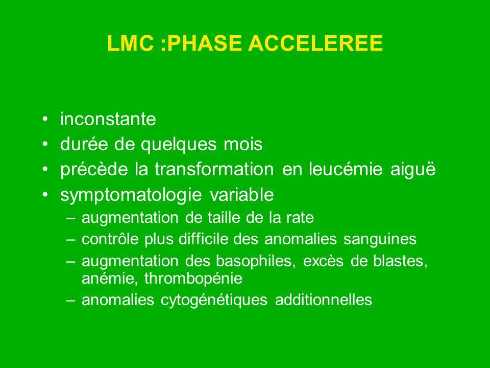 LMC :PHASE ACCELEREE inconstante durée de quelques mois
