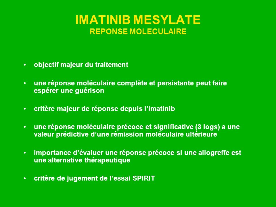 IMATINIB MESYLATE REPONSE MOLECULAIRE