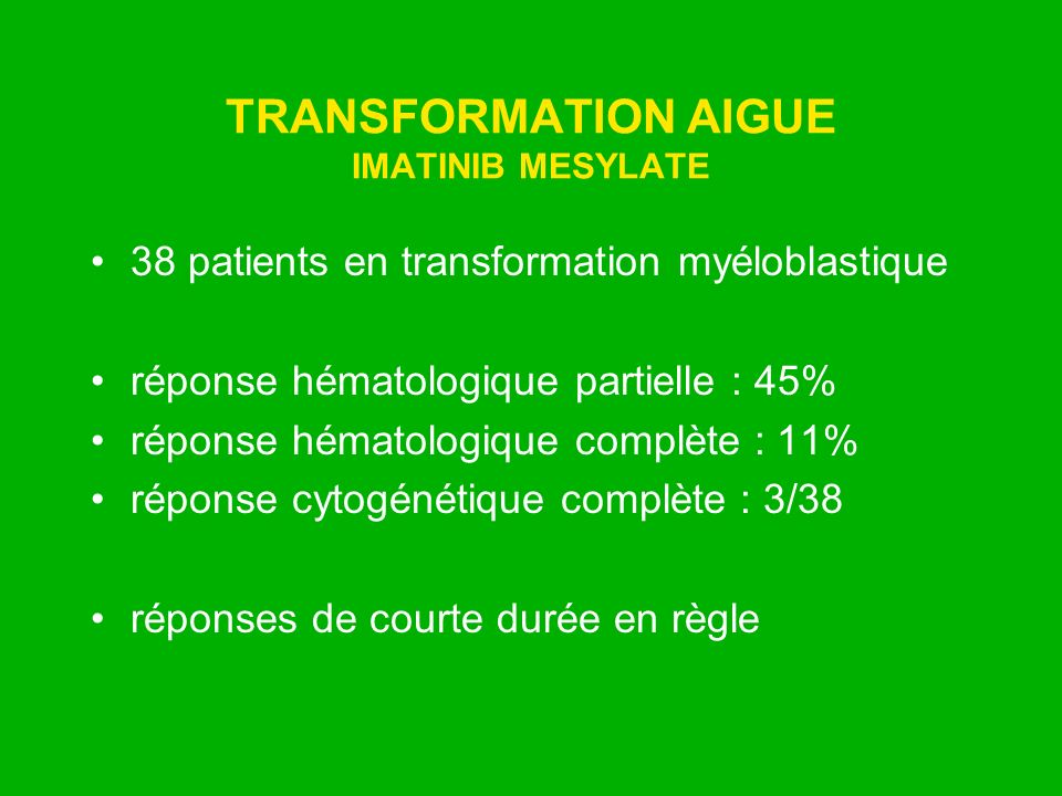 TRANSFORMATION AIGUE IMATINIB MESYLATE