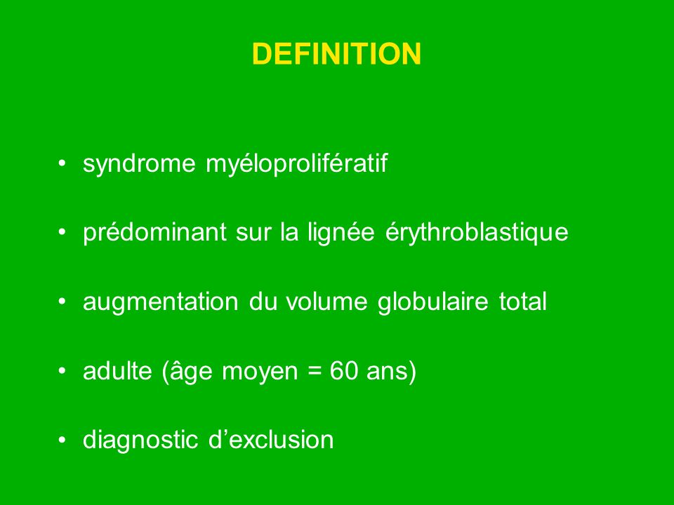 DEFINITION syndrome myéloprolifératif