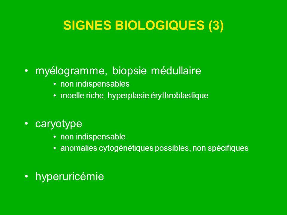 SIGNES BIOLOGIQUES (3) myélogramme, biopsie médullaire caryotype
