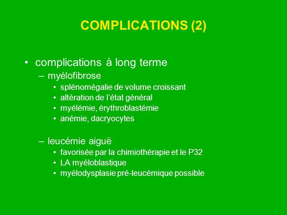 COMPLICATIONS (2) complications à long terme myélofibrose