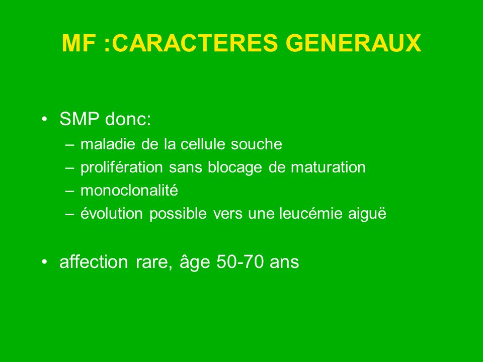 MF :CARACTERES GENERAUX