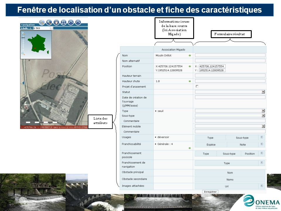 Fenêtre de localisation d'un obstacle et fiche des caractéristiques