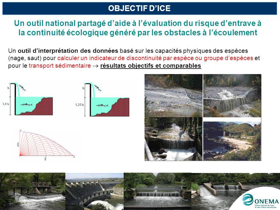 OBJECTIF D'ICEUn outil national partagé d'aide à l'évaluation du risque d'entrave à la continuité écologique généré par les obstacles à l'écoulement.
