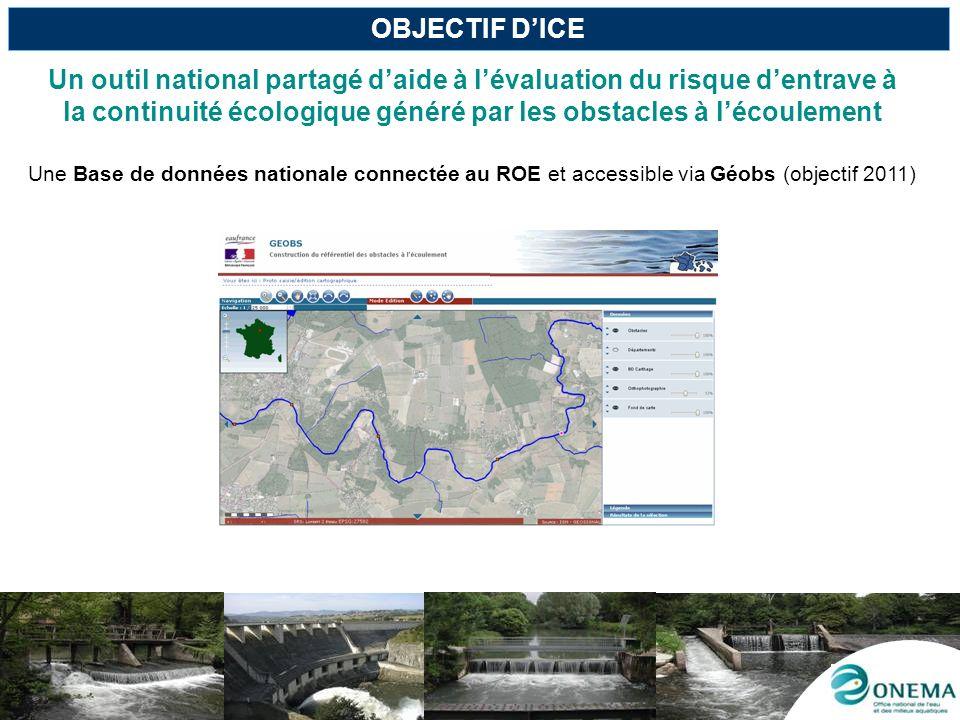 OBJECTIF D'ICE Un outil national partagé d'aide à l'évaluation du risque d'entrave à la continuité écologique généré par les obstacles à l'écoulement.