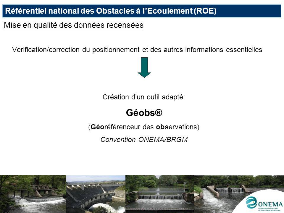 Géobs® Référentiel national des Obstacles à l'Ecoulement (ROE)
