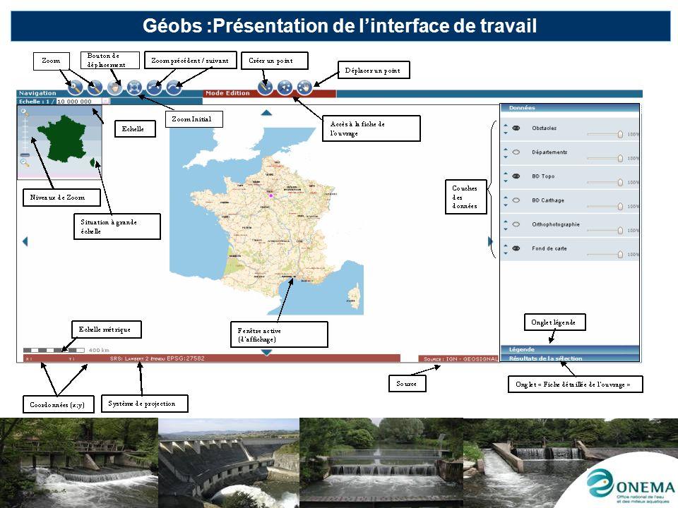Géobs :Présentation de l'interface de travail
