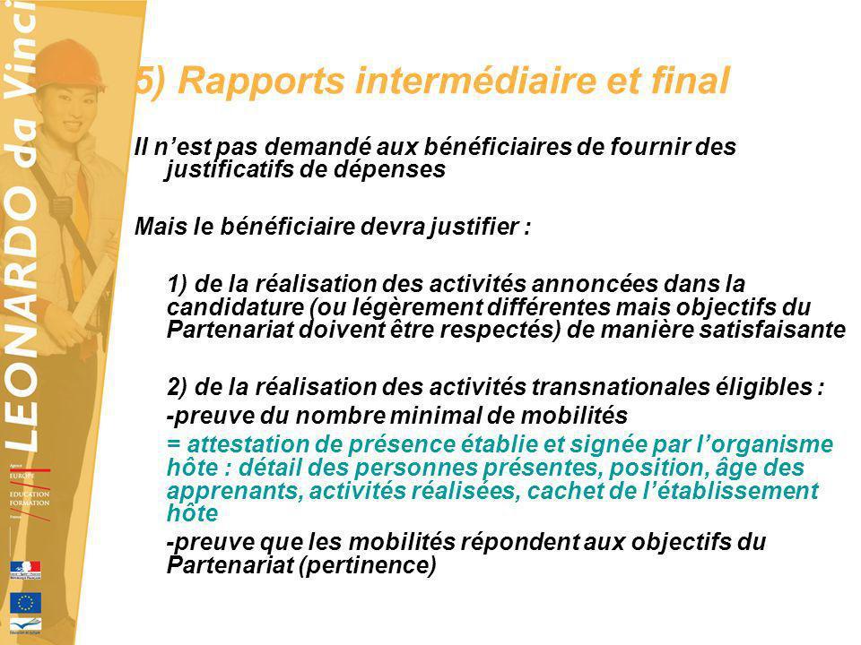 5) Rapports intermédiaire et final