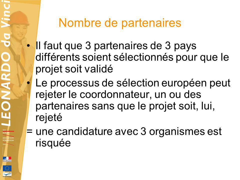 Nombre de partenairesIl faut que 3 partenaires de 3 pays différents soient sélectionnés pour que le projet soit validé.