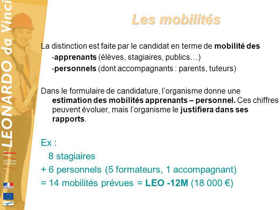 Les mobilités Ex : 8 stagiaires
