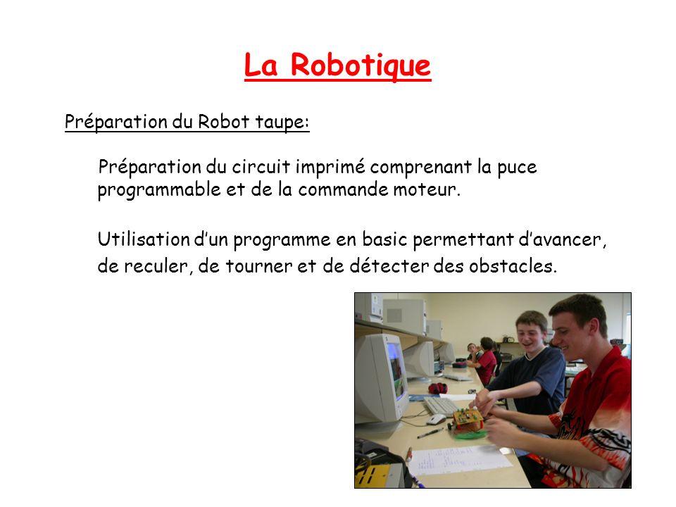 La Robotique Préparation du Robot taupe: