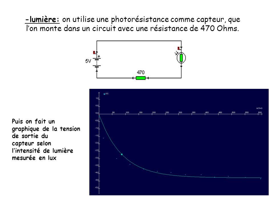 -lumière: on utilise une photorésistance comme capteur, que l'on monte dans un circuit avec une résistance de 470 Ohms.