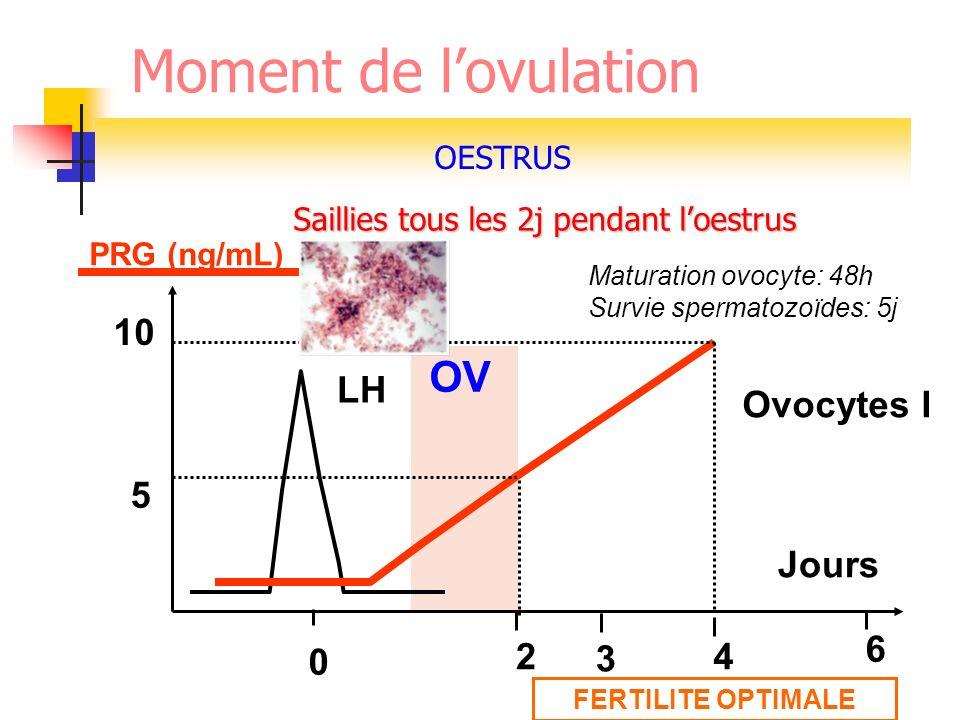 Moment de l'ovulation OV 10 LH Ovocytes I 5 Jours 6 2 3 4 OESTRUS