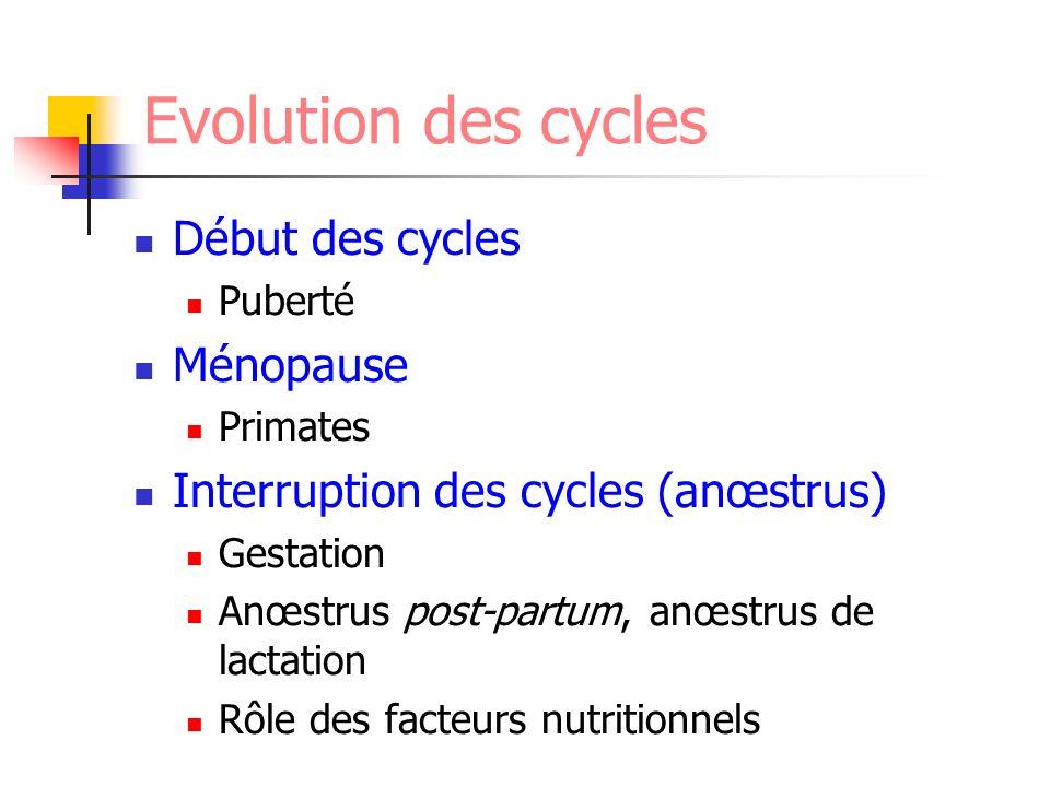 Evolution des cycles Début des cycles Ménopause