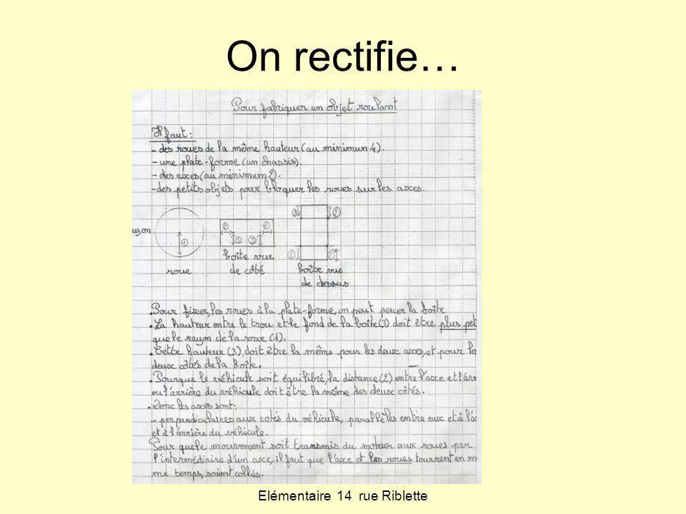 Classe de CM2 Elémentaire 14 rue Riblette