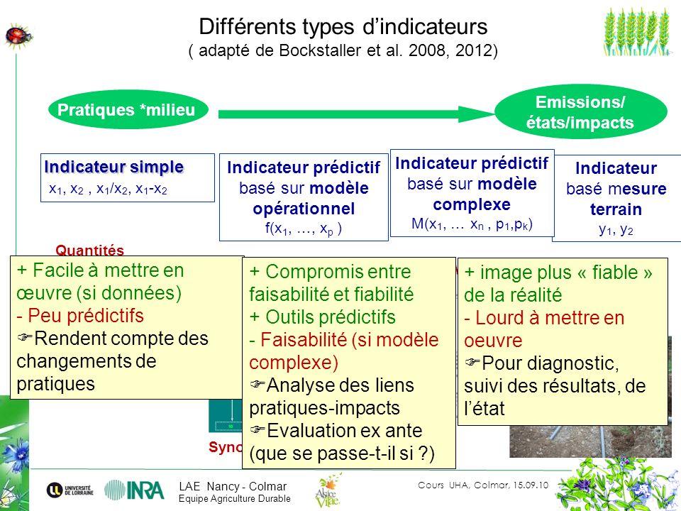 Différents types d'indicateurs ( adapté de Bockstaller et al