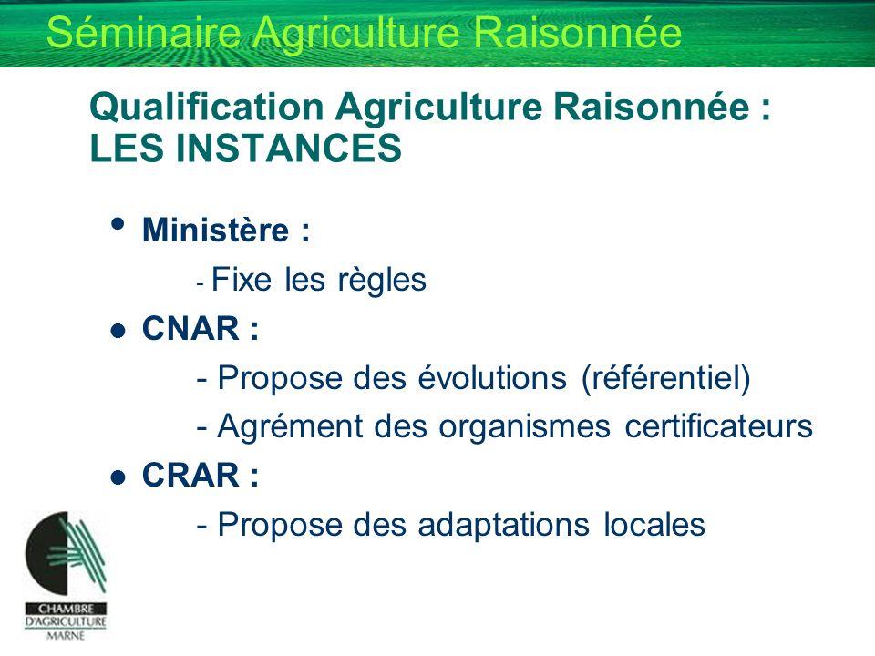 Qualification Agriculture Raisonnée : LES INSTANCES