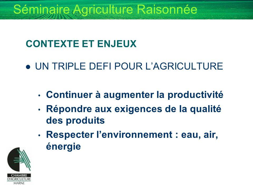 CONTEXTE ET ENJEUX UN TRIPLE DEFI POUR L'AGRICULTURE. Continuer à augmenter la productivité. Répondre aux exigences de la qualité des produits.