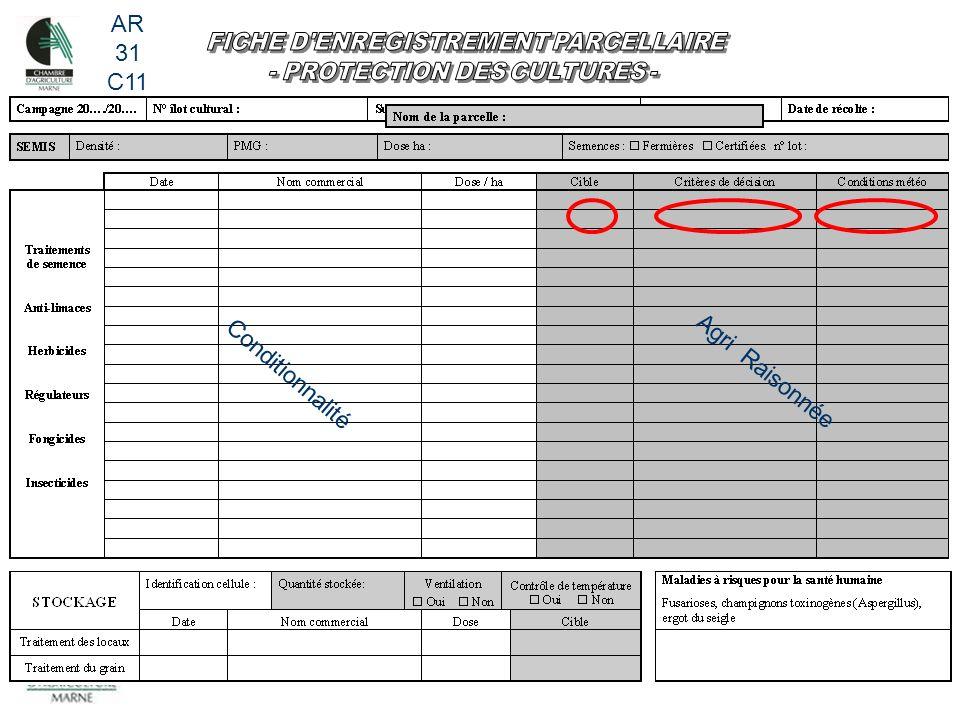 FICHE D ENREGISTREMENT PARCELLAIRE - PROTECTION DES CULTURES -