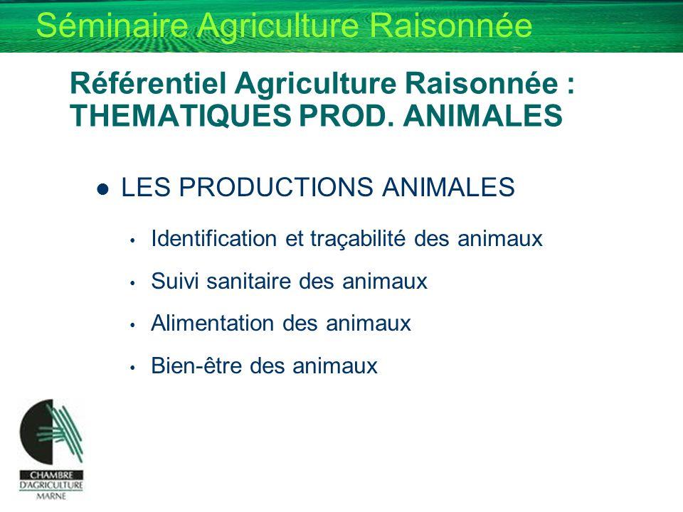 Référentiel Agriculture Raisonnée : THEMATIQUES PROD. ANIMALES