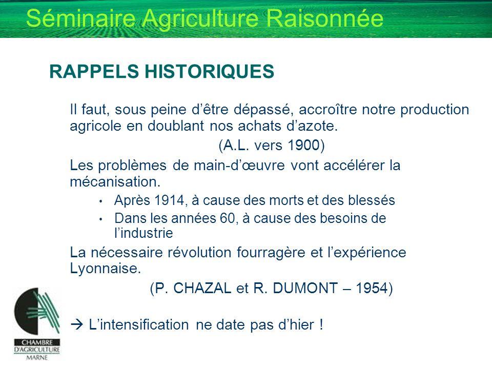 RAPPELS HISTORIQUES Il faut, sous peine d'être dépassé, accroître notre production agricole en doublant nos achats d'azote.