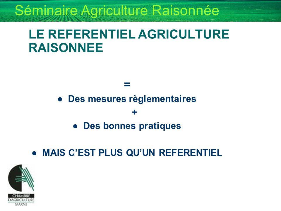 LE REFERENTIEL AGRICULTURE RAISONNEE