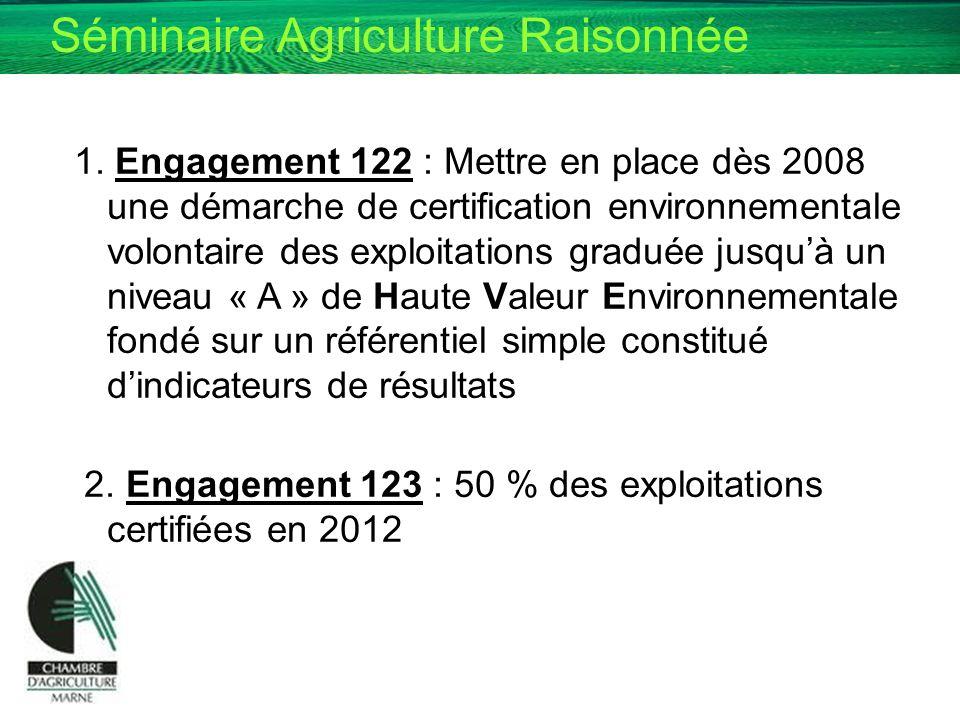 1. Engagement 122 : Mettre en place dès 2008 une démarche de certification environnementale volontaire des exploitations graduée jusqu'à un niveau « A » de Haute Valeur Environnementale fondé sur un référentiel simple constitué d'indicateurs de résultats