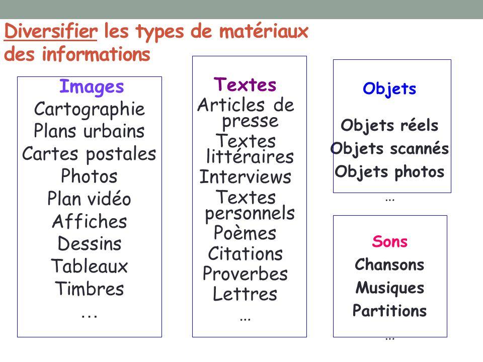 Diversifier les types de matériaux des informations