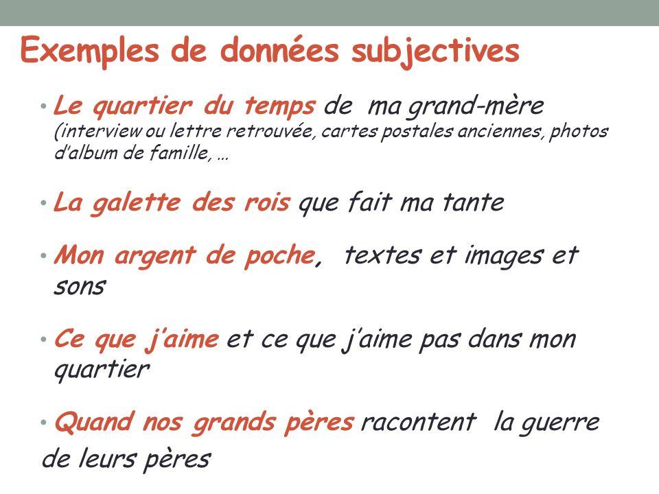 Exemples de données subjectives