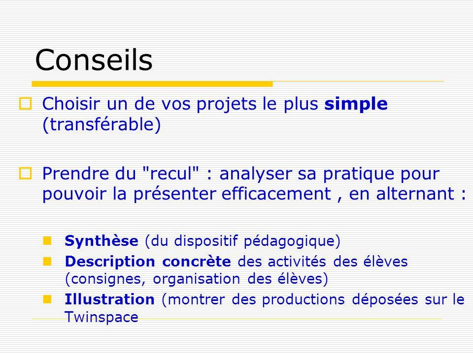 Conseils Choisir un de vos projets le plus simple (transférable)