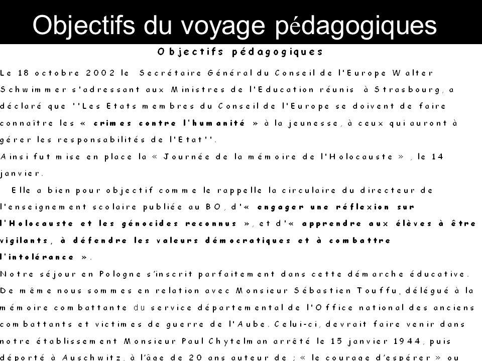 Objectifs du voyage pédagogiques