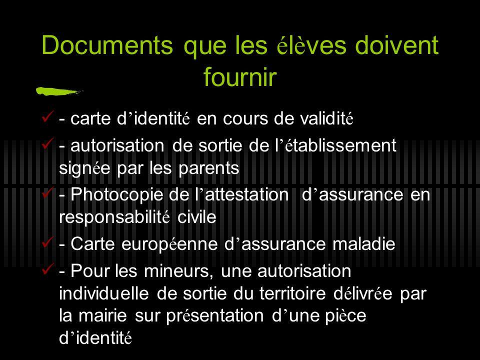 Documents que les élèves doivent fournir