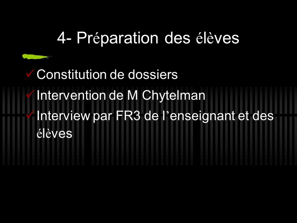 4- Préparation des élèves