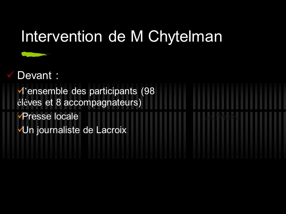 Intervention de M Chytelman