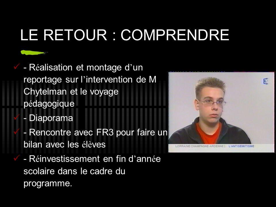 LE RETOUR : COMPRENDRE - Réalisation et montage d'un reportage sur l'intervention de M Chytelman et le voyage pédagogique.
