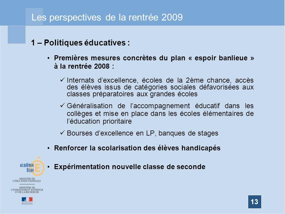 Les perspectives de la rentrée 2009